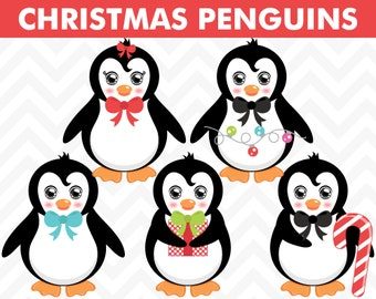 80% OFF Sale Clipart Christmas Penguins  Vector EPS Commercial Use