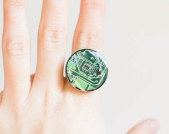 Big round ring - circuit board ring - computer jewelry - geekery - statement ring