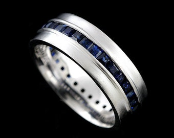 Princess Blue Sapphire Men's Wedding Band, Channel Satin Matte Finish Men's Wedding Ring, Comfort Fit Eternity Gold Gemstone Men's Ring 7mm