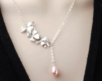 Pink Pearl Necklace - Silver Flower Bridesmaid Necklace - Swarovski Pearl Drop Necklace - Pearl Bridesmaid Jewelry - Wedding Jewelry