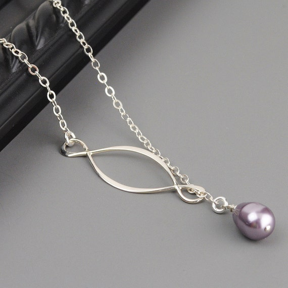 Lavender Pearl Necklace - Bridesmaid Necklace - Sterling Silver Lariat - Mauve Lavender Pearl Eternity Infinity Necklace