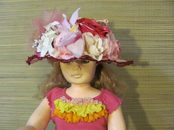 tea party pink hat little girl dress up hat pretty by anndances. Black Bedroom Furniture Sets. Home Design Ideas