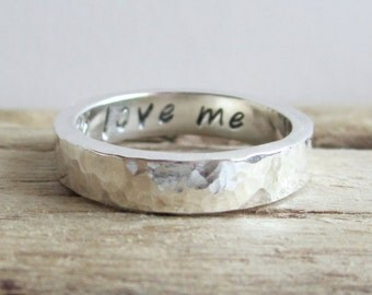 Chunky Sterling Silver Band - Personalized Ring