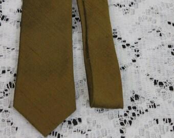 Vintage 1960s Silk Elfant Mens Bronze SkinnyTie