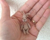 Hopsy Flopsy, classic artist bunny, collectible, antique style, micro crochet, miniature bunny, amigurumi bunny, kawaii bunny