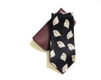 Silk Swing Brand Necktie Black Italian Silk Cream and Caramel Pie Slices Wide Tie Novelty Pattern Edgy Business Executive Dance Party