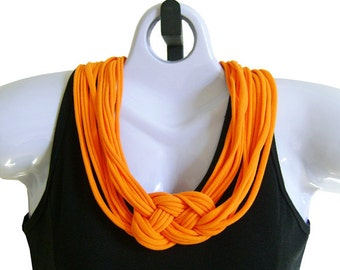 FABRIC NECKLACE, Orange Sherbet, Mandarin Orange, T-shirt Scarf, Handmade, Ready to Ship     (See Pic #5 for Optional Styling)