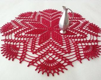 Crochet Doilies Lace Doilies Burgundy Tablecloth Cardinal Red Poinsettia Placemat Home Decor Table Centerpiece Unique Gift