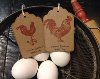 Personalized kitchen tags- baked goods tags- bridal gifts - poultry-country themed gifts -set of 12