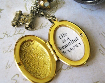 inspirational locket necklace  with message life is a beautiful  journey oval locket necklace for women with inspiring message