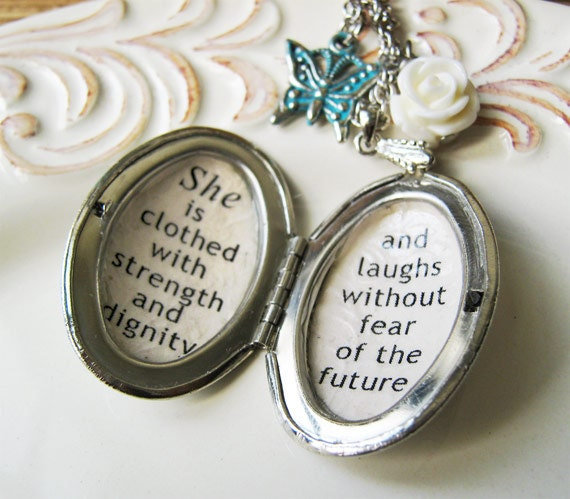 She Is Clothed With Strength And Dignity Bracelet: Locket Quote Necklace Inspirational Quote Jewelry Necklace
