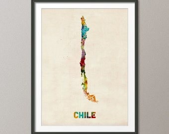 Chile Watercolor Map, Art Print (538)