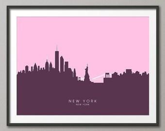 New York Skyline, NYC Cityscape Art Print (658)