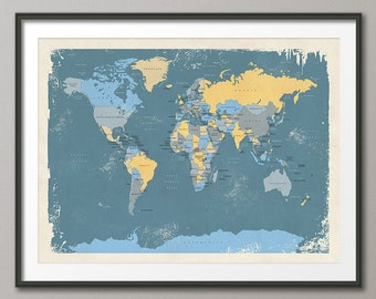 Retro Political Map of the World Map, Art Print, 18x24 up to 24x36 (1097)
