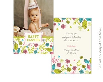 INSTANT DOWNLOAD - Easter Photocard - Photoshop Template - E344