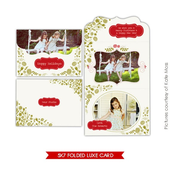 INSTANT DOWNLOAD - 5x7 Folded Luxe Card Template- Garden Moments - E205