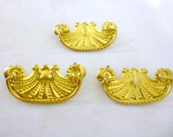 Three Reproduction Stamped Brass Drawer Pulls, Ornate Dresser Pulls