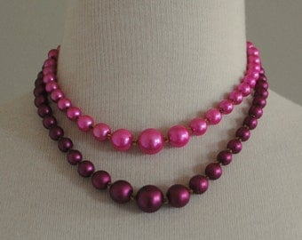 Vintage 60s Pink Fushia Double Strand Pearl Necklace