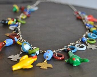 VINTAGE MULTICOLOR PARROT necklace