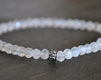 Stretchy PAVE DIAMONDS MOONSTONE bracelet