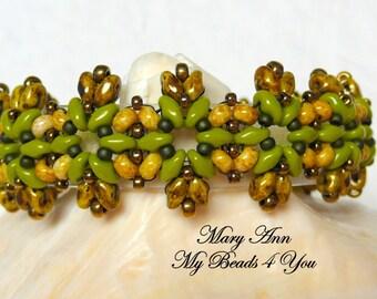 SuperDuo Beadwoven Bracelet, Beadwork Bracelet, Cuff Bracelet, Seed Bead Bracelet, Beadwoven Jewelry, Embellished Bracelet, Jewelry Gift