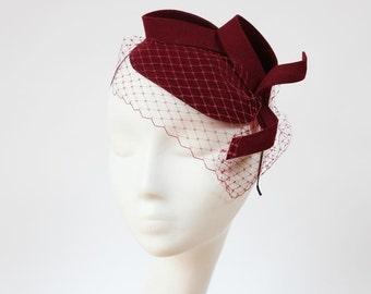 Bridal Hair Accessories,Felt Mini Hat,Fascinator,Crimson