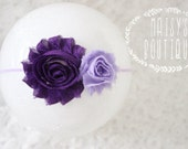 75% Off Purple Plum Mini Lavender Shabby Flower Headband/ Newborn Headband/ Baby Headband/ Flower Girl/ Wedding/ Photo Prop