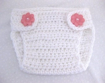 Diaper Cover, Newborn, Baby, Baby Girl, Infant, White, Flower, Crochet, Photo Prop, Newborn Photos