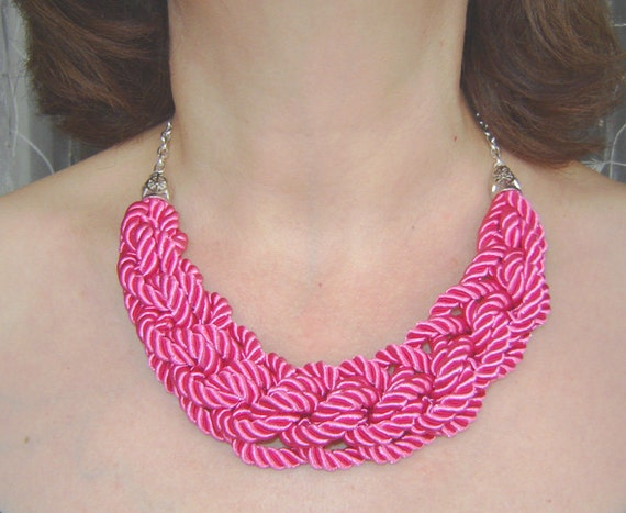 Bright pink  knot necklace. Silk rope.