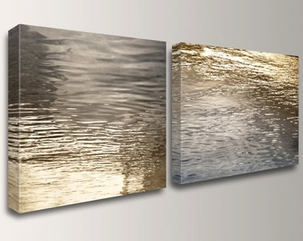 "Canvas Art, Nautical Wall Art, Beach - Modern, Abstract, Grey and Gold, Coastal Photography, Wall Decor, ""Beckon"""