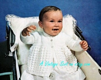 Baby Matinee Jacket in 4 ply for size 18 - 19 ins - Bairnswear 1652 - pdf of  of Vintage Knitting Patterns