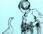 Girl and Goose Encaustic Painting