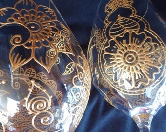Hand painted One of kind wine glassware in henna style designs. Unique personal gift. Crystal glass option to personalize. Dishwasher safe