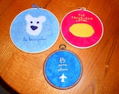 Cabin Pressure embroideries -- Fly Some Plane, The Traveling Lemon, Le Bear Polar