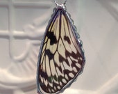 Real Butterfly Wing between glass Soldered Pendant Rice Paper Butterfly Butterfly Necklace Birthday Christmas Gift Statement Jewelry