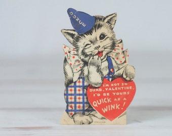 1920s Valentines Card Dunce Cap Dunce Hat Cat
