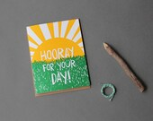 Hooray for your day! Letterpress greeting card.