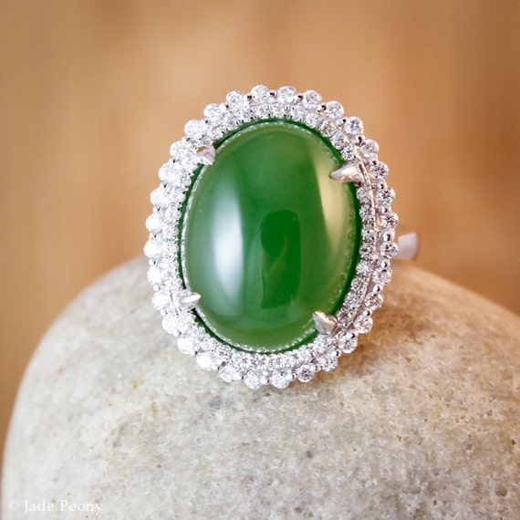 Heirloom AAA Grade Nephrite Jade Diamond Ring Engagement