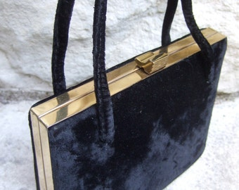 Elegant Black Velvet Evening Bag c 1960