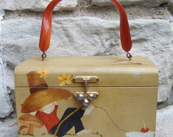 Quirky Wood Hand Painted Decoupage Box Bag c 1970