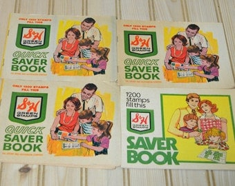 Vintage S & H Green Stamps Saver Book  Set of 4