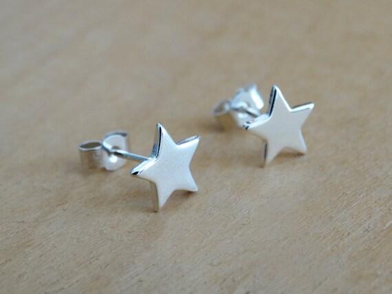 Silver Star Stud Earrings - Shiny Finish - Sterling Silver