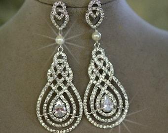 Bridal Earrings- Knot Earrings, Chandelier Earrings, Wedding Earrings, Crystal Earrings, Wedding Earrings, Cubic Zirconia