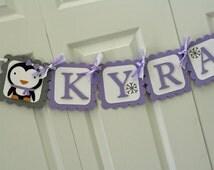 Lavender and Grey Winter Onederland Penguin Name Banner, Winter Birthday, Winter Onederland Party, Snowflake Birthday