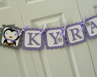 Lavender and Grey Winter Onederland Penguin Name Banner, Winter Birthday, Winter Onederland Party, Snowflake Birthday