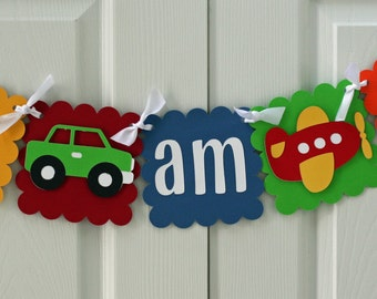 Car and Airplane I am 1 Banner Primary Colors, transportation birthday, car birthday, airplane birthday