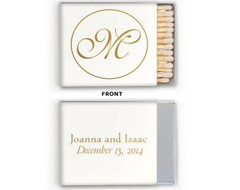 Matches Wedding Favors Foil Stamped Monogrammed Matchboxes Personalized Matchbox Rehearsal Dinner Bridal Shower Custom Colors