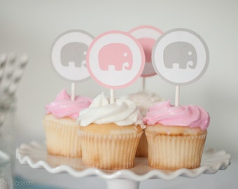 Set of 12 - Elephant Baby Shower Decoration, Elephant Cupcake Toppers, Baby Shower Cupcake Toppers, Baby Girl Shower