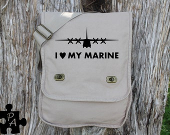 I Heart My Marine with C-130 - Military Support Canvas Messenger Bag - Laptop Bag - iPad Bag - Diaper Bag - School Bag