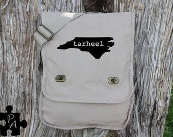 North Carolina TARHEEL Canvas Messenger Bag - Laptop Bag - iPad Bag - Diaper Bag - School Bag